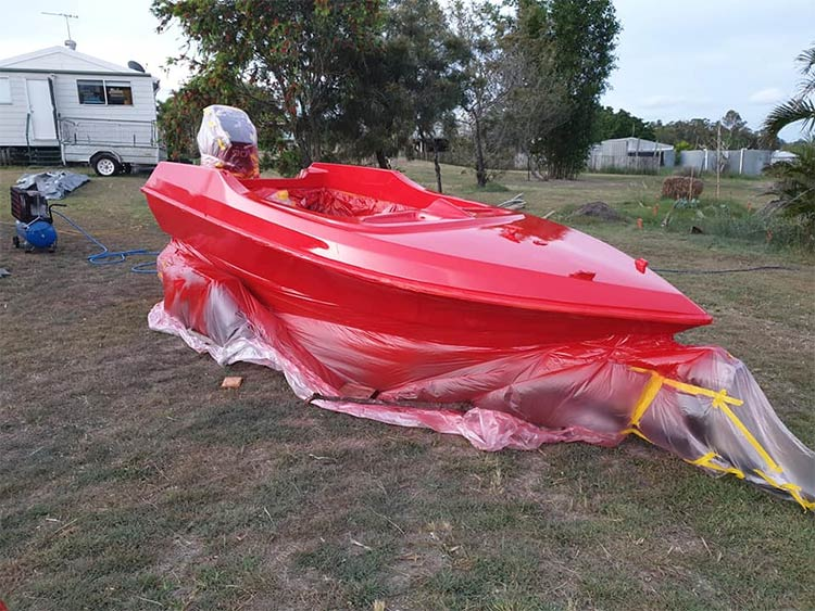 After spraying 2nd coat of red