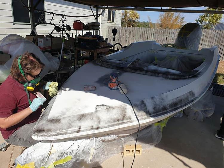 Sanding the Pride Cheetah ski boat