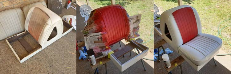 Before, during and after I repainted the first chair