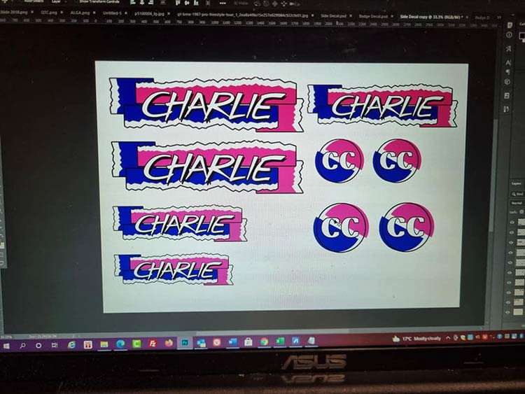 The decals designed in Photoshop